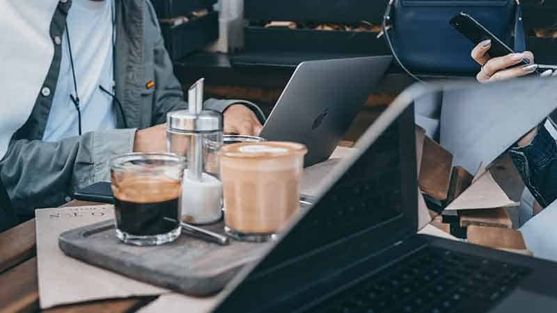 coffee drinkers and laptops
