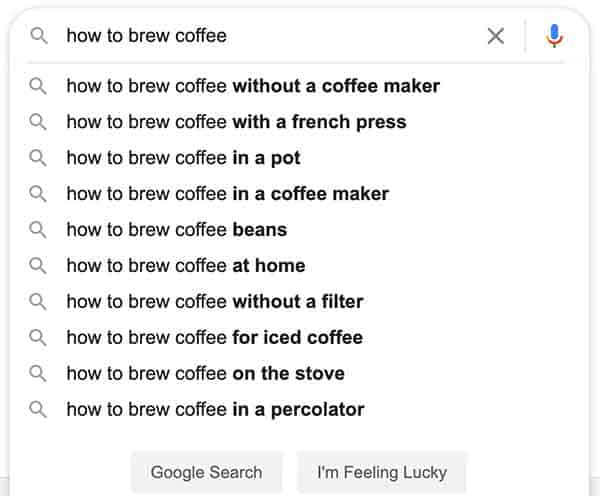 google search for brewing coffee
