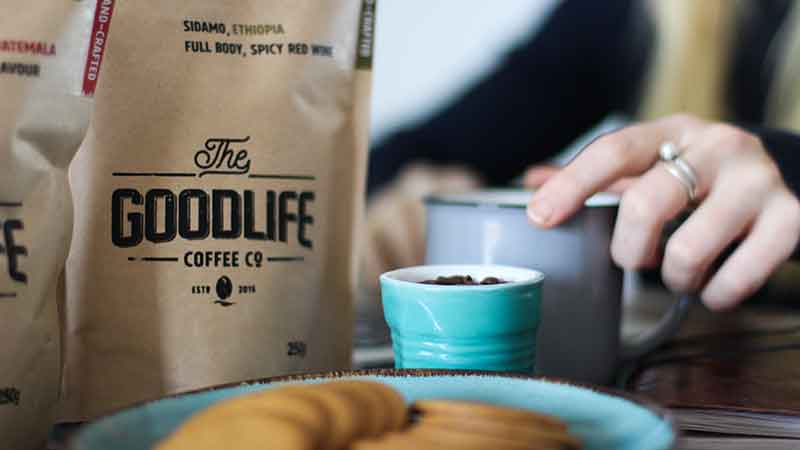 bag of branded coffee