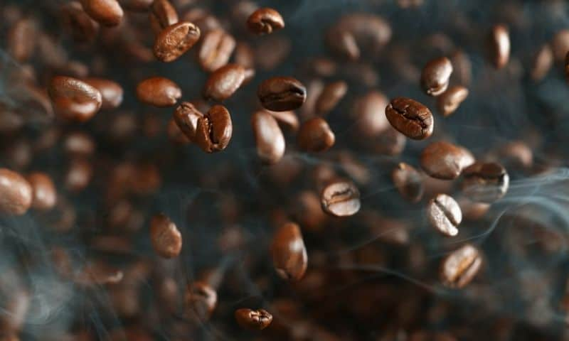 floating coffee beans